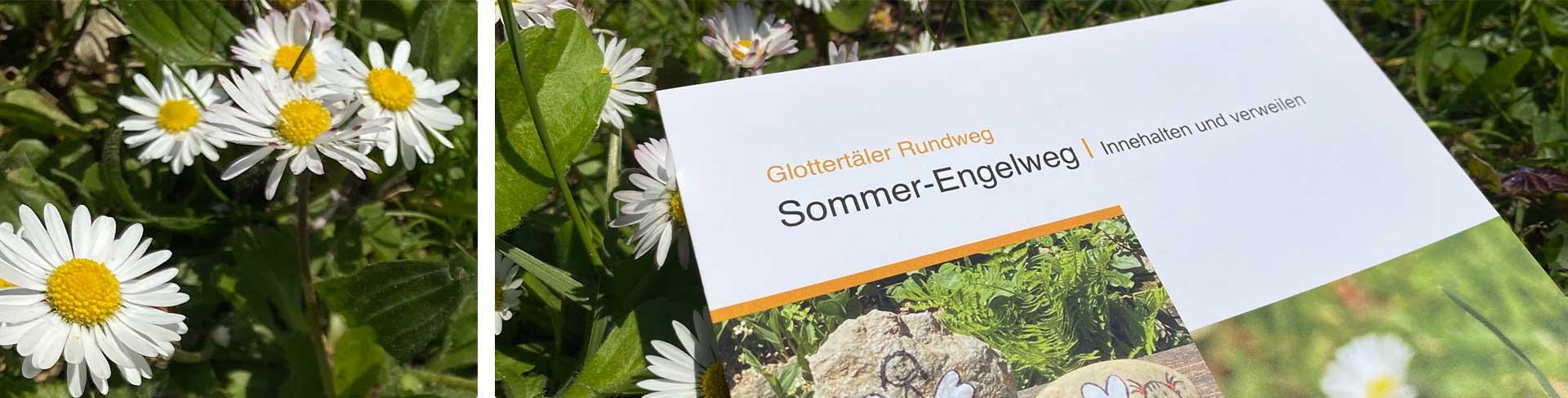 Flyer vom Engelweg mit Gänseblümchen im Hintergrund