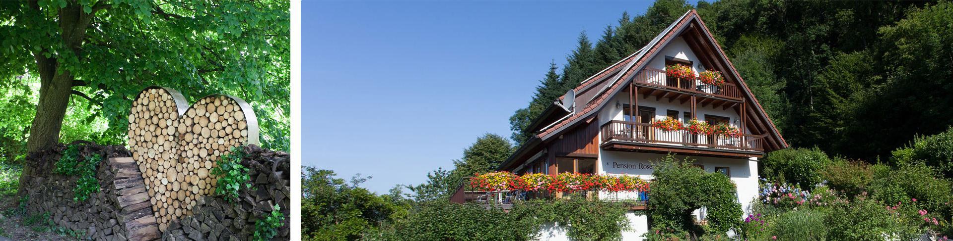 Das Roseneck liegt am Waldrand und ist umgeben von einem wunderschönen großen Garten